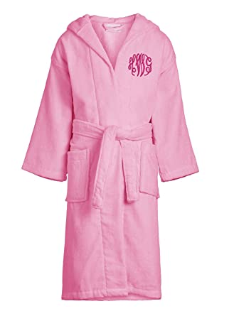 Classy Bride Monogrammed Kids Velour Hooded Bath Robe - Girls - Light Pink  (L) da2df57f7