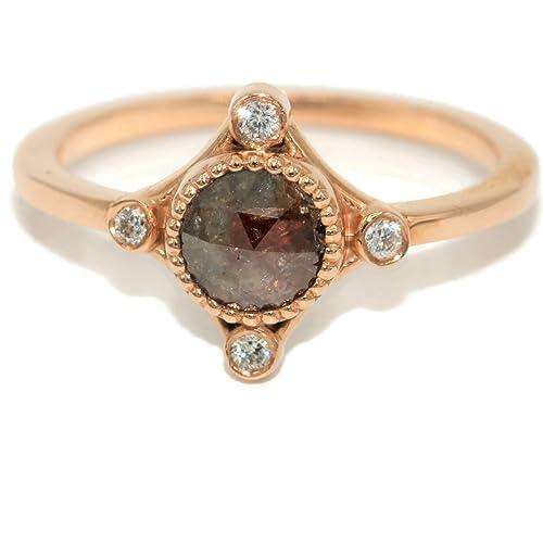 Amazon Com Rustic Diamond Ring 14k Rose Gold Affordable Diamond