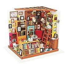 ROBOTIME DIY Wooden Miniature Dollhouse Furniture Kit Library with LED light-Best Birthday Christmas Gifts for Women,Men,Boyfriend,Girlfriend