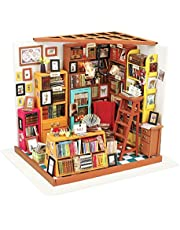 Rolife DIY Miniature Dollhouse Kit,Library with Furniture and LED,Wooden Dollhouse Kit,Best Birthday and Valentine's Day Gift for Women and Girls (Sam's Study)