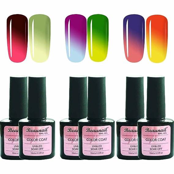 Juego de esmalte de uñas de gel que cambia de color, UV LED para cambiar la temperatura del esmalte (6 colores, 10 ml): Amazon.es: Belleza