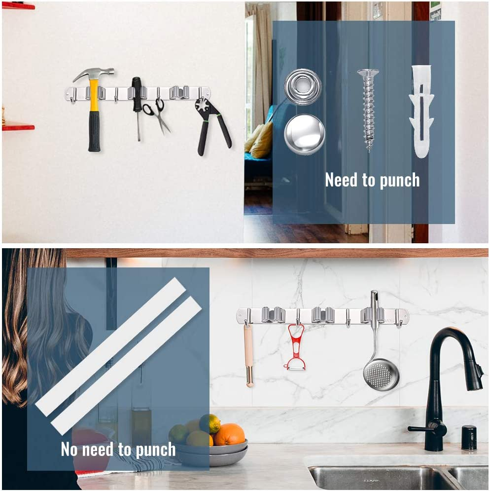 Wall Mounted Organizer Storage Tool with 3 Racks and 4 Hooks for Kitchen Bathroom Closet Garden Garage Irich Stainless Steel Mop Broom Holder Black