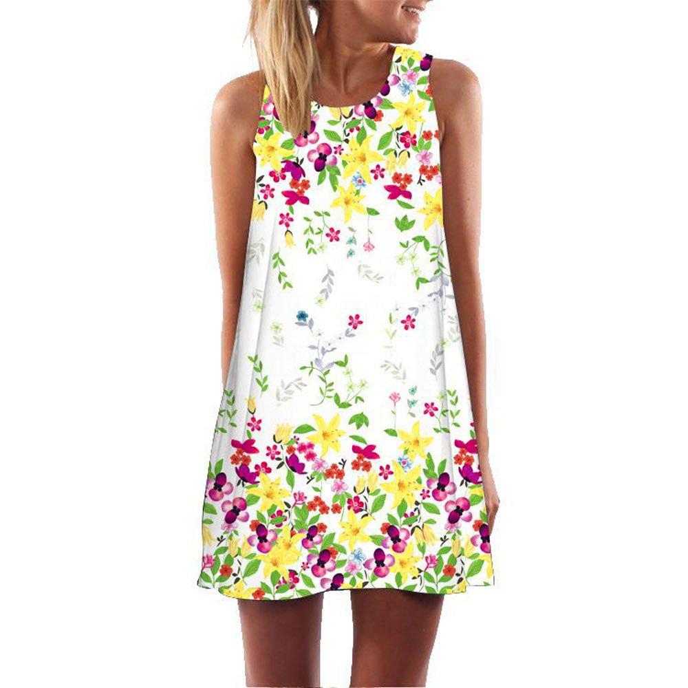 Toamen Women's Vintage Boho 3D Floral Print Summer Sleeveless Beach Short Mini Tank Vest Dresses Sundress