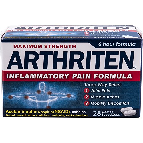 Arthriten Inflammatory Pain Formula Caplets 28 Count, with 3 Active Ingredients for Maximum Pain Relief: Aspirin, Acetaminophen & Caffeine