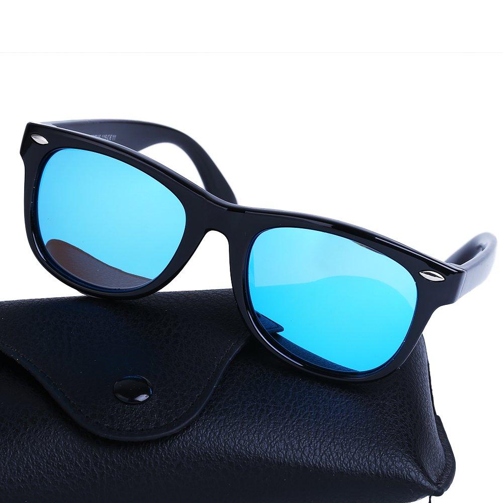 Toddler Sunglasses Polarized Sports Wayfarer for Children (Black Frame/Blue Lens)