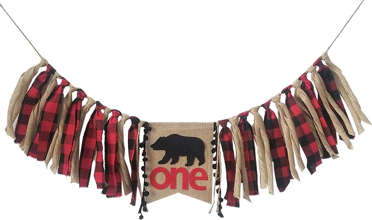 WAOUH Lumberjack High Chair One Banner 1st Birthday Decoration,Handmade Woodland Bear First Birthday Party Supplies Burlap Highchair Banner for 1st Birthday Baby Boy (Bear Birthday Decor)
