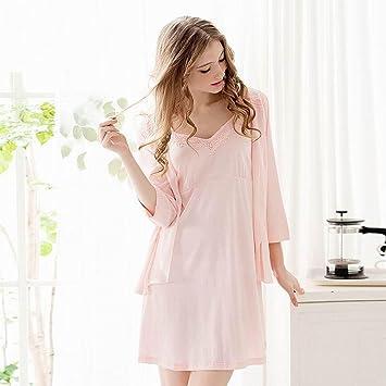zycloth-womens Lady niña Sexy Sweet algodón cómoda de manga larga vestido de noche pijama