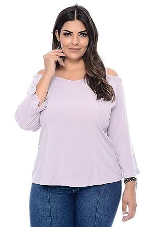 81e7d72d8e Blusa Plus Size Ciganinha com Plissado Lilás  Amazon.com.br  Amazon Moda
