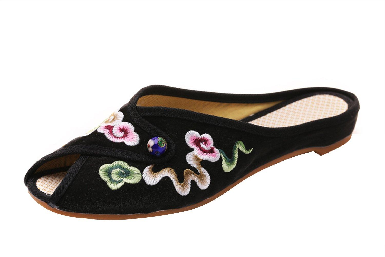 Insun Femme Espadrilles Fait B079HBPZDF Main Insun Broderie Fleurs Bout Main Ouvert Pantoufles Noir ddca771 - conorscully.space