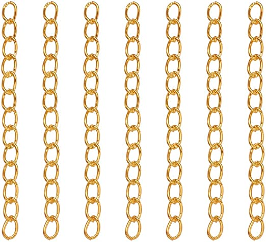 Craftdady About 90Strands Iron Silver Twist Extender Chains 1.77~1.97 Inch Jewelry Necklace Bracelet Making Extension Tails Endings Ends Connectors