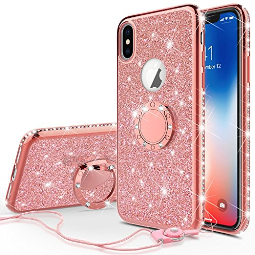 [GW USA] Glitter Cute Phone Case Girls Kickstand Compatible Apple iPhone Xs Max Case,Bling Diamond Rhinestone Bumper Ring Stand Thin Soft Sparkly iPhone Xs Max 2018 (Rose Gold)