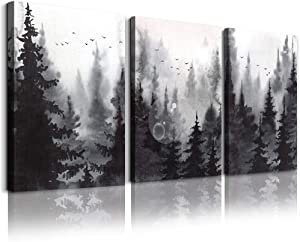 scenery Watercolor painting 3 Pieces Canvas Wall Art for living room Wall Decor for bedroom decorations Modern office Home decoration Black and white forest landscape posters Canvas Prints artwork