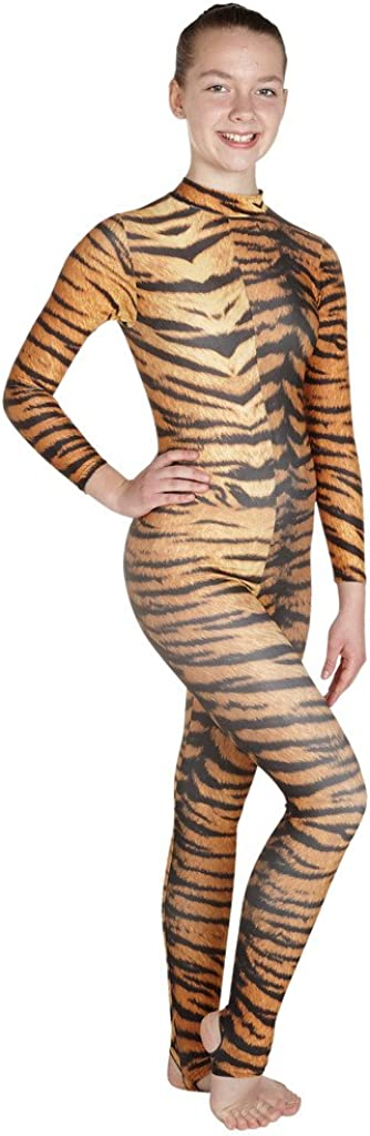 #Elsa Wholesale Dance Bodysuit Fancy Dress Unitard Dance Animal Siberian Tiger Print Lycra Catsuit