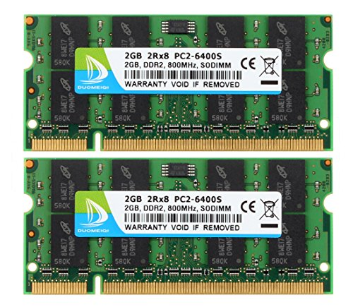 (DUOMEIQI 4GB Kit (2X 2GB) 2RX8 PC2-6300 PC2-6400 PC2-6400S DDR2 800MHz SODIMM CL6 200 Pin 1.8v Non-ECC Unbuffered Notebook RAM Laptop Memory Module Compatible with Intel AMD and Mac System)