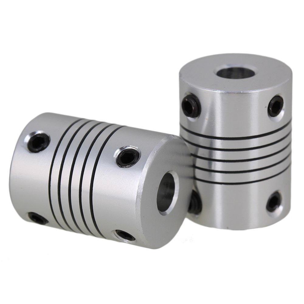 CNBTR 2pcs 6.35mm to 10mm Silver CNC Stepper Motor Shaft Coupling Coupler for Encoder yqltd