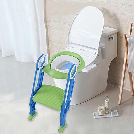 Asiento inodoro escalera Reductor WC para niños bañera de baño, Toilette Trainer Step Up con cojín