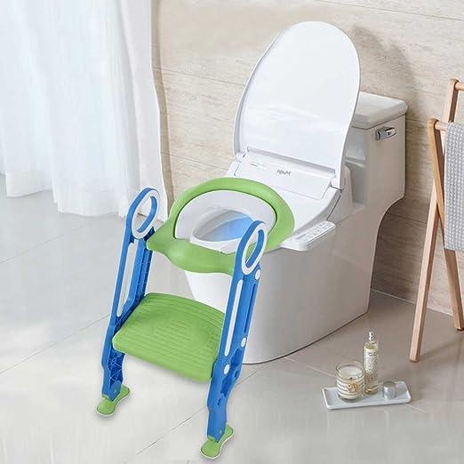 Asiento inodoro escalera Reductor WC para niños bañera de baño, Toilette Trainer Step Up con cojín plegable, asiento de inodoro orinal con Step stepiner escalera para niño y niña Posto difficile Verde
