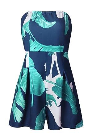 b9a615b722e M S W Womens Off Shoulder Floral Short Jumpsuit Strapless Summer Boho  Rompers Playsuit ...