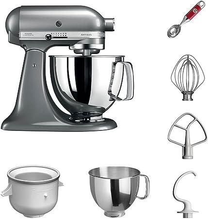 KitchenAid Robot de cocina | fop Juego | Artisan 5 ksm125ps helado del paquete incluye – Heladera y cuchara para helado para postre casera de creaciones Kontur-silber: Amazon.es: Hogar