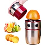 Stainless Steel Juicer, Portable Manual Lid Rotation Citrus Juicer Lemon Juicer Squeezer for Oranges, Lemons, Tangerines and Grapefruits