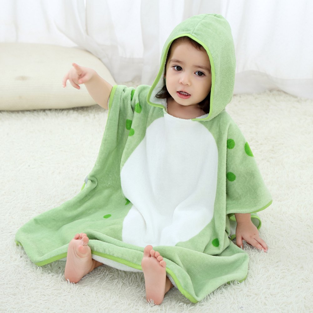 NEWEST Animal Hooded Baby Towel Cotton Bathrobe For Boys Girls 0-7 Year (Green, 0-7 year) by NEWEST