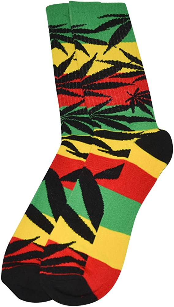 2 PAIRS-Mens-Womans Black w//Rasta Pot Leaves Ankle to Mid-Calf Socks
