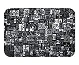 Minicoso Doormat Retro Letterpress Theme Pattern with Old Random Metal Letters Antique Old Typography Set Black Silver