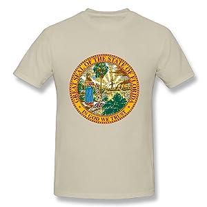 HM Men's T-shirts USA Florida State Flag Natural