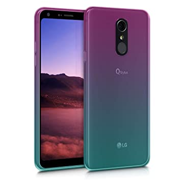 kwmobile Funda para LG Q7 / Q7+ / Q7a (Alpha) - Carcasa para móvil de TPU con diseño Bicolor - Rosa Fucsia/Azul/Transparente