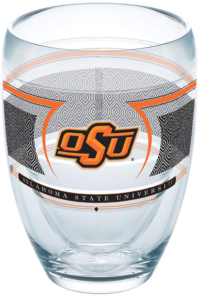 Tervis 1230137 Oklahoma State Cowboys Reserve Insulated Tumbler with Wrap 9oz Stemless Wine Glass Clear