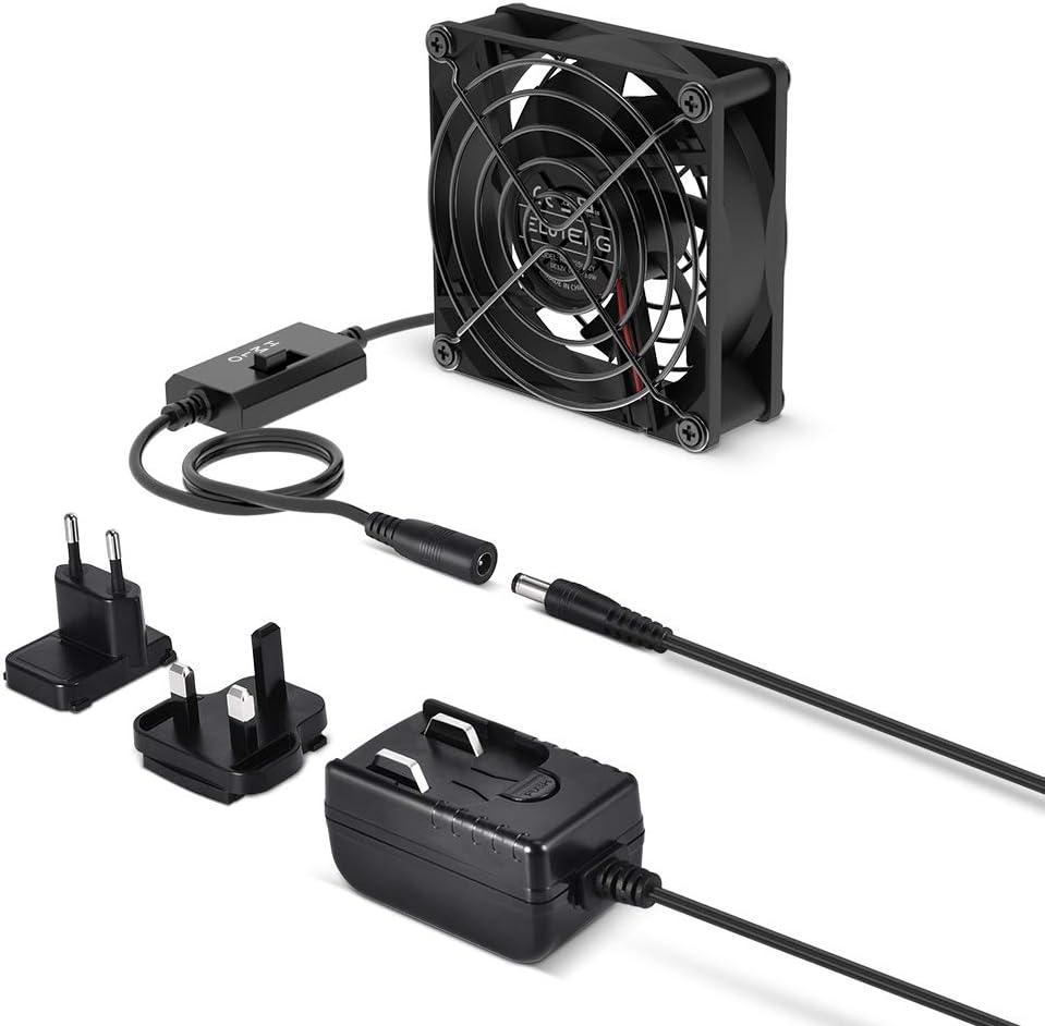 ELUTENG 12 V/1 A USB Fan Silent 80 mm Fan 3 Speeds Adjustable PC Fan Portable Desk Fan with Power Adapter Ideal for PC/ PS4/ Xbox/TV Box/Laptop/AV Cabinet, Black
