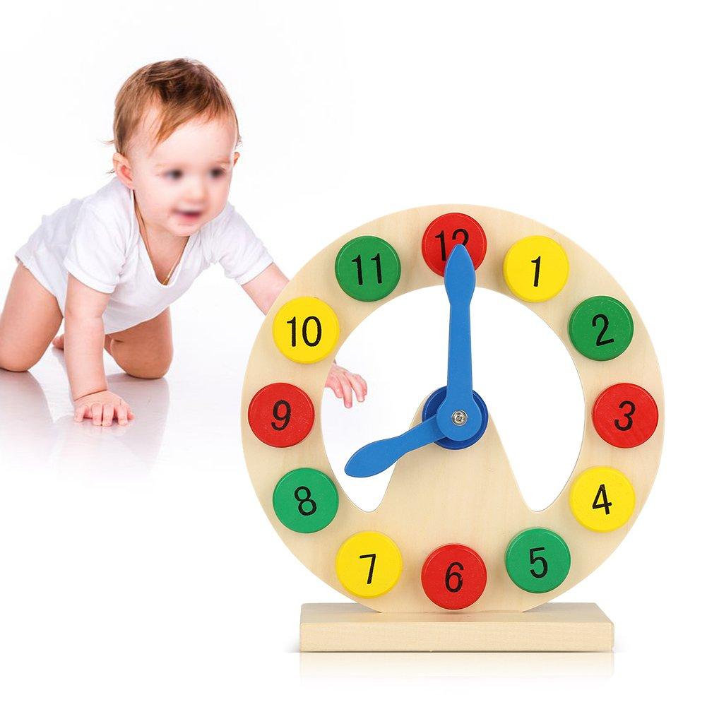 Lernuhr 1-12 P/ädagogisches Spielzeug Lerngeschenk f/ür Kleinkinder Kinder Baby Holz Bunt