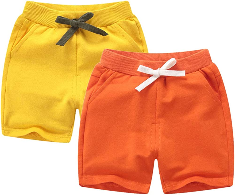 DQCUTE Toddler Baby Kids Solid Cotton Sport Jogger Shorts Pants Boys Girls Summer Casual Elastic Waist Pants