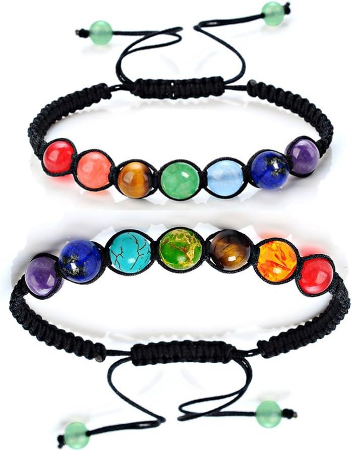 Pulseras ajustables para parejas, 7 chakras, pulsera difusor de la religión Reiki Healing Balance para él y ella (2 unidades)