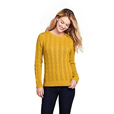 fa7130d234 Lands  End Women s Drifter Cotton Cable Knit Sweater Crewneck at ...