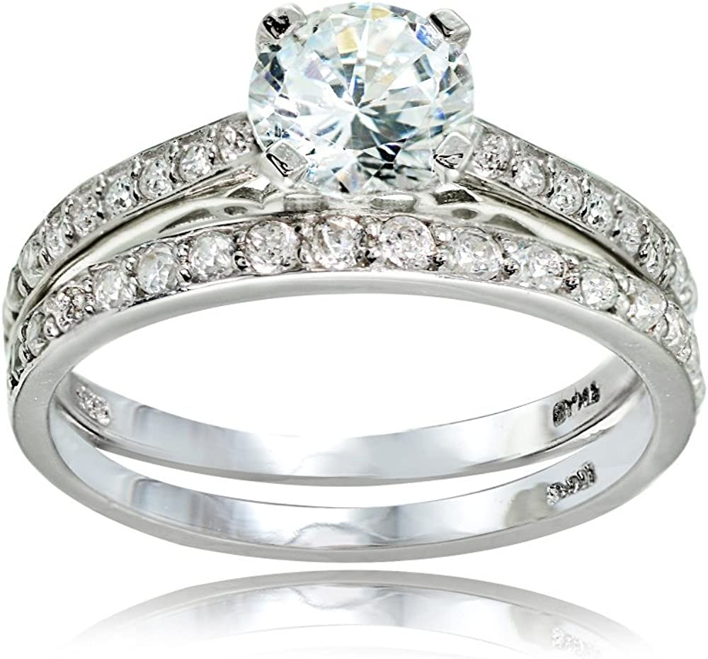 Women/'s .925 Sterling Silver 3Ct Round /& Baguette Cut CZ Engagement Ring Sz 5-10