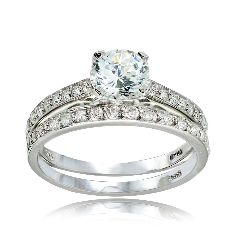 Sterling Silver Cubic Zirconia Round-cut Wedding & Engagement Bridal Ring Set, Size 6