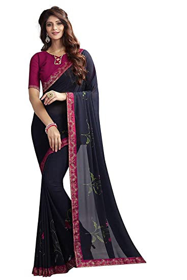 7800442fac6754 Crazy Women's Georgette Printed Saree with Banglori silk Blouse Piece (Blue)