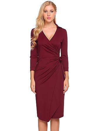 Damen V-Ausschnitt Figurbetontes Kleid Langarm Wickeloptik mit ...