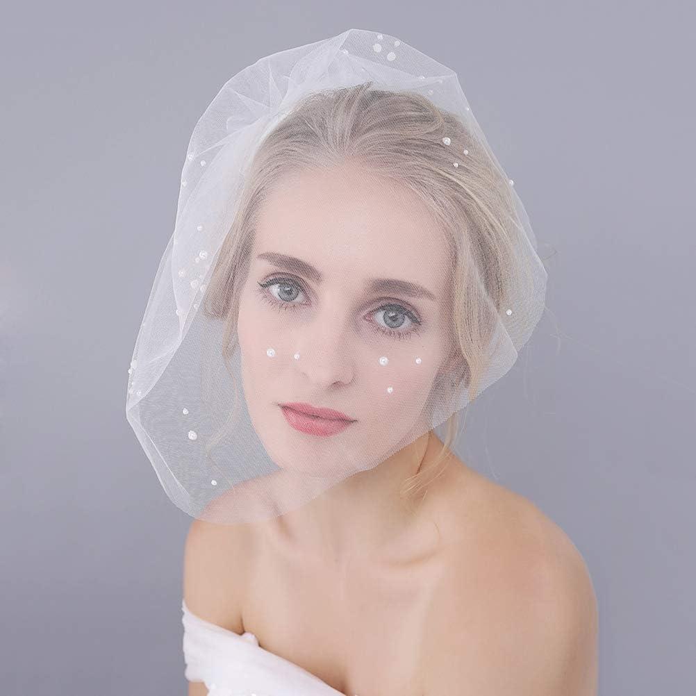 Amosfun Wedding Bridal Short Veil Half Facial Gauze with Shiny Pearls Wedding Accessories for Women Ladies White