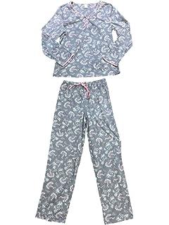 29295eb6b8 Womens Gray Pink   White Leaf Floral Fleece Pajamas Flower Holly Sleep Set