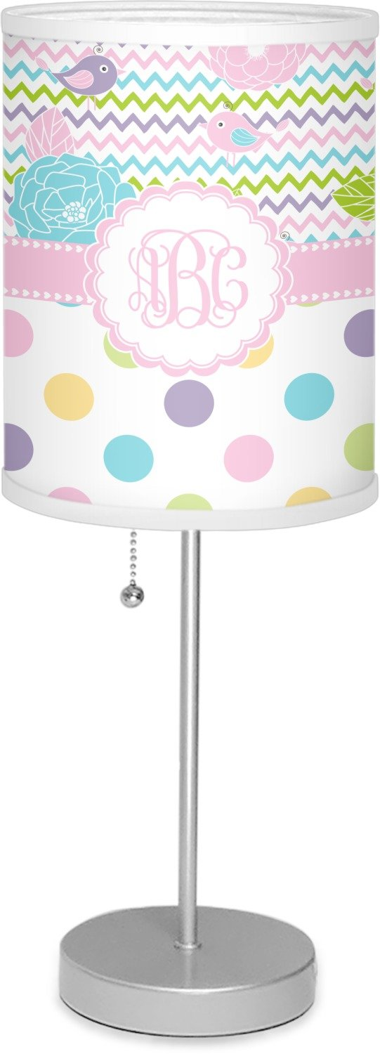 RNK Shops Girly Girl 7'' Drum Lamp with Shade Linen (Personalized)
