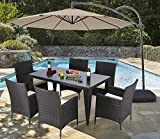 Do4U 7 Piece Patio Wicker Dining Set Complete Outdoor Rattan Dining Furniture Glass Table Cushioned Chair(Expresso-9024) Review