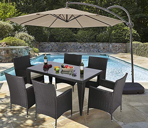 Do4U 7PCS Patio Wicker Rattan Garden Dinning Set Rectangle Table with Glass and 6 Chairs Outdoor Furniture Set (Expresso-9024)