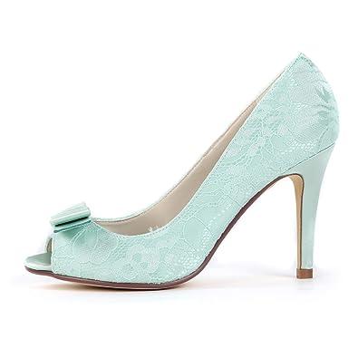b3a9b8e3a2 Creativesugar Women's lace Heels, Open Toe with Bow Sweet Wedding Shoes,  Bridal Bridesmaid Dress Prom Pumps