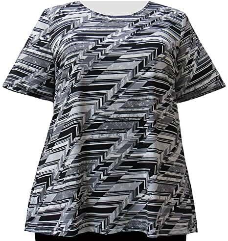 A Personal Touch Platinum Geometric Women's Plus Size Top