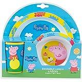 Fun House 005175 Peppa Pig Ensemble de Repas pour Enfants Polypropylène Bleu 26,5 x 7 x 25 cm 3 Pièces