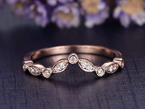 Wedding Ring Solid 14K Rose Gold Ring Diamond Ring Anniversary Ring Stackable Ring Full Eternity