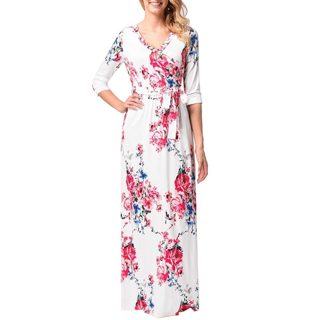 Longra Damen Blumen Kleid Lange Kleider Maxikleid Damen ...