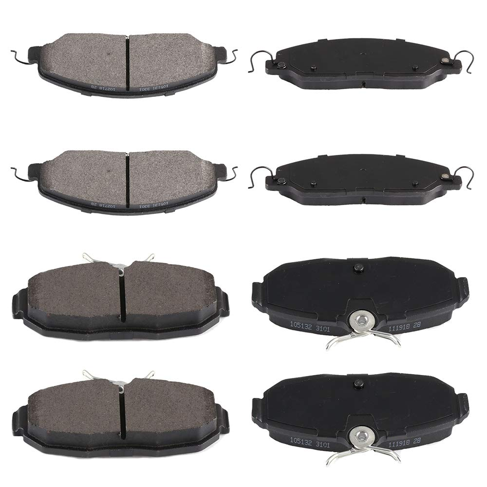 SCITOO 8pcs Front Rear Ceramic Brake Pads fit for 2005 2006 2007 2008 2009 2010 2011 2012 2013 2014 Ford Mustang